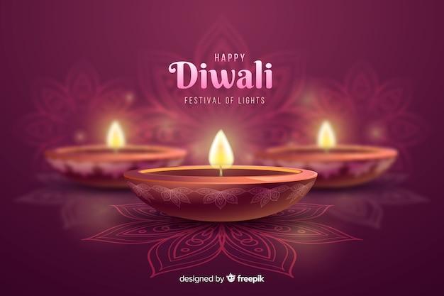 De vieringsachtergrond van diwali feestelijke kaarsen