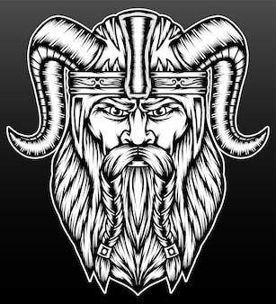 De viking-krijger die op zwart wordt geïsoleerd