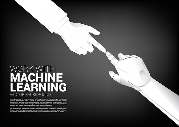 De vingeraanraking van de robot met zakenmanvinger. concept geboorte van ai leermachine tijdperk.