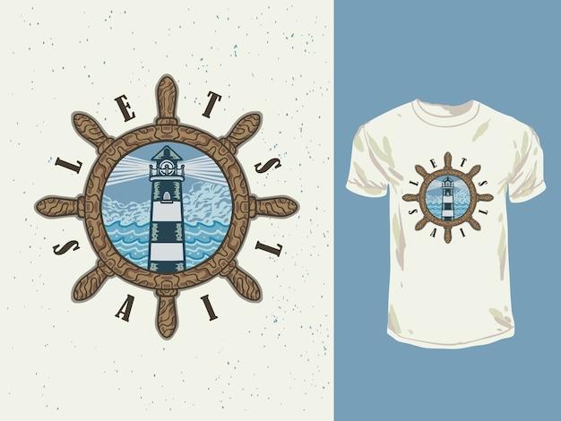 De vintage designvuurtoren en zee met een handgetekende illustratie