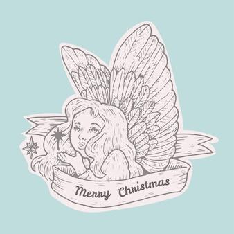De vintage engel van illustratiekerstmis
