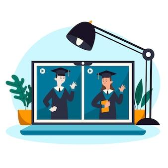 De virtuele illustratie van de graduatieceremonie met laptop