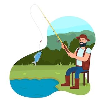 De visser zit op stoel dichtbij meer met hengel.