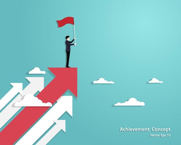 De vlag die van de zakenmanholding zich op rode pijl bevinden