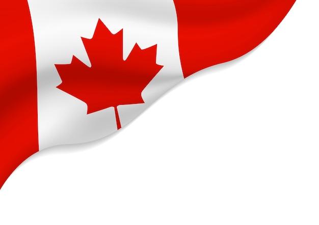 De vlag van canada op witte achtergrond met exemplaarruimte die wordt geïsoleerd