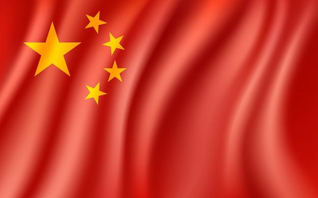 De vlag van china, die chinese nationale vlagachtergrond, illustratie golft