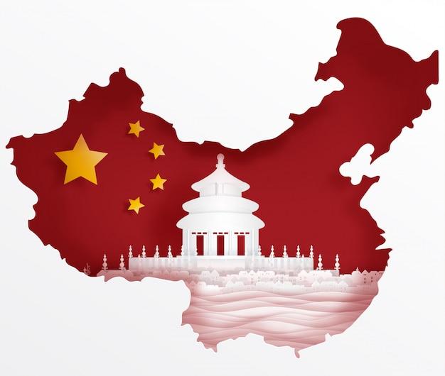 De vlag van china met wereldberoemde oriëntatiepunten in document sneed stijl vectorillustratie