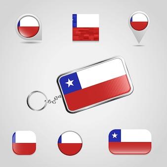 De vlag van het land van chili op keychain en kaartspeld verschillende stijl