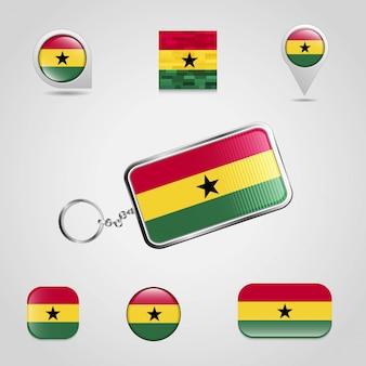 De vlag van het land van ghana op keychain en kaartspeld verschillende stijl