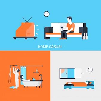 De vlakke de pictogrammenreeks mensen van het levensstijlconcept mensen kijken op tv, slapen in slaapkamer, hebben douche en nemen bad vectorillustratie.