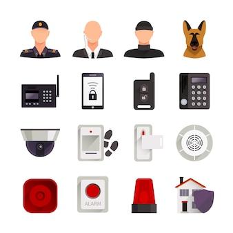 De vlakke decoratieve die pictogrammen van de huisveiligheid met de video-camera van de wachthond en de digitale elektronische systemen voor huisbescherming worden geplaatst isoleerden vectorillustratie