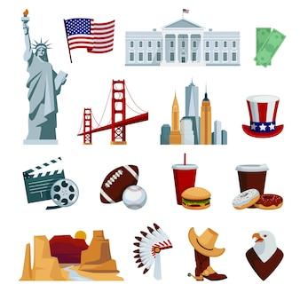 De vlakke die pictogrammen van de vs met amerikaanse nationale symbolen en aantrekkelijkheden worden geplaatst