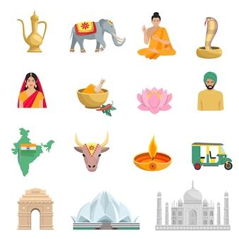 De vlakke die pictogrammen van india met symbolen van cultuur en godsdienst geïsoleerde vectorillustratie worden geplaatst