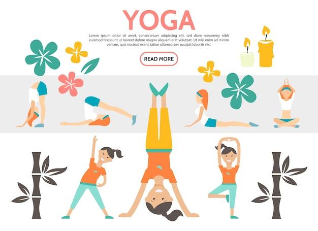 De vlakke die yoga-elementen met meisjes worden geplaatst die in verschillende poses uitoefenen lotusbloemen bamboe en kaarsen geïsoleerde illustratie
