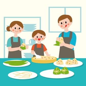 De vlakke familie die van de drakenboot zongziillustratie voorbereidt en eet