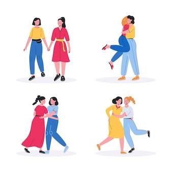 De vlakke geïllustreerde scène van het lesbische paar