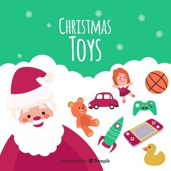 De vlakke kerstman met speelgoedachtergrond