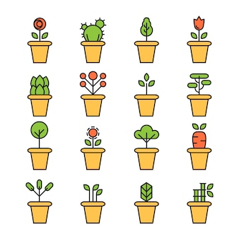 De vlakke pictogrammenreeks potten planten tuinbloemen en kruiden
