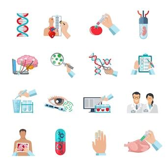 De vlakke reeks van kleuren wetenschappelijke pictogrammen van biotechnologie genetische techniek en nanotechnologie geïsoleerde vectorillustratie