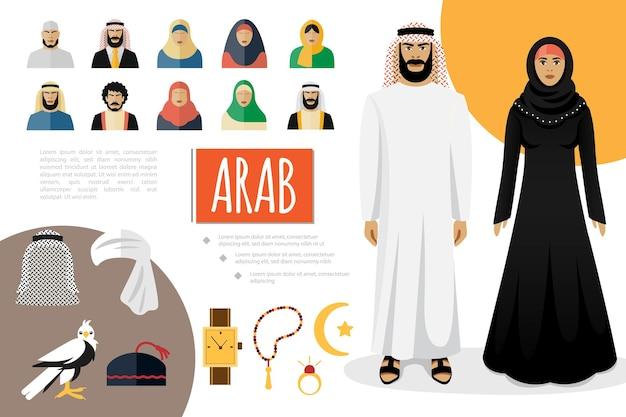 De vlakke samenstelling van arabische cultuurelementen met moslimmensen in traditionele illustratie