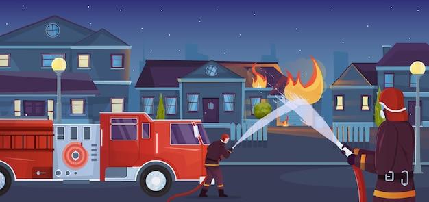 De vlakke samenstelling van de brandweerliedenstad met stadslandschap met brandend levend huis en vrachtwagen met waterstroom