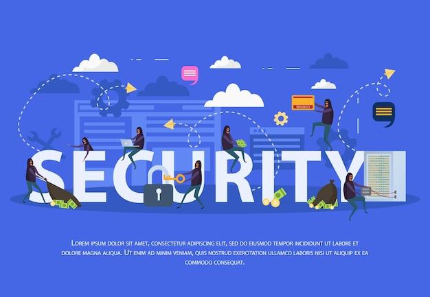 De vlakke samenstelling van de cyberveiligheid met verschillende hackeraanvallen op computerapparatuur op blauwe illustratie als achtergrond
