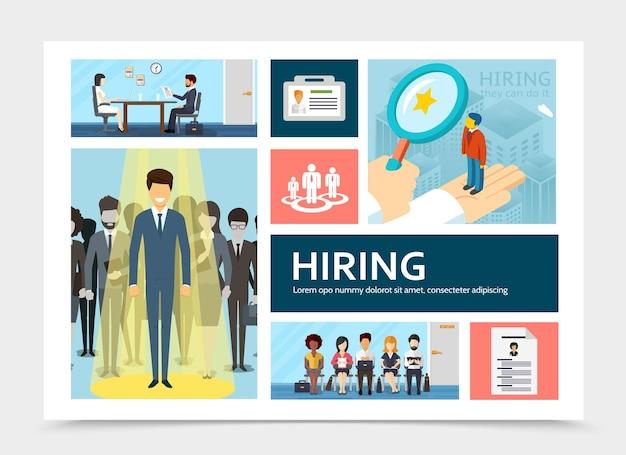 De vlakke samenstelling van de personeelswerving met zakenman in schijnwerperillustratie