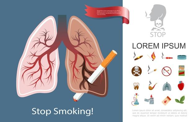 De vlakke samenstelling van de rookverslaving met rokerlongen, sigaretten, sigaarpijp, asbak, komt overeen met waterpijp, tabaksbladeren, lichter, ziek, hart, tand, illustratie