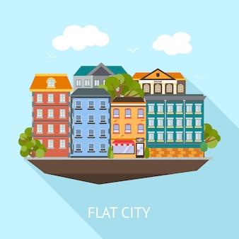 De vlakke samenstelling van de stads lange schaduw met gekleurde gebouwen en groene bomen op blauwe hemel, vectorillustratie