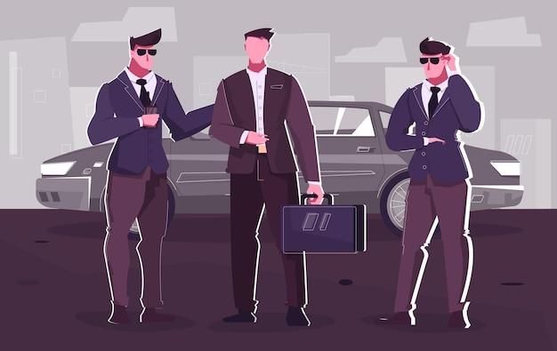 De vlakke samenstelling van de veiligheidsdienst met zakenman die uit limousine komt, omringd door twee lijfwachten
