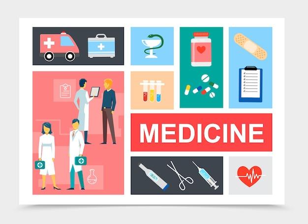 De vlakke samenstelling van geneeskundeelementen