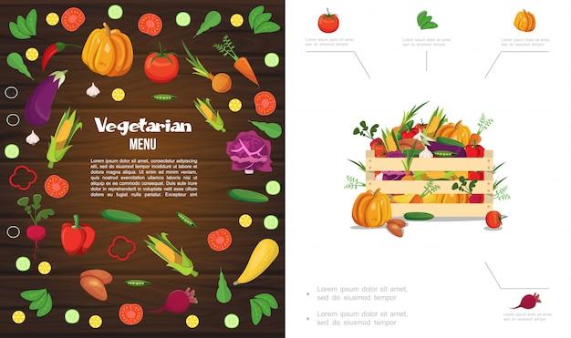 De vlakke samenstelling van het eco gezonde voedsel met houten krat van pompoen, maïs, tomaat, komkommer, wortel, biet, knoflook, kool, aardappel, peper, erwten