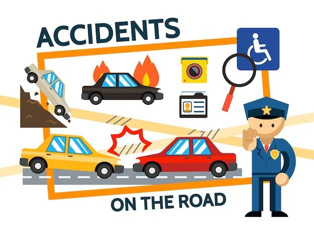 De vlakke samenstelling van verkeersongevallen met auto-ongeluk vallen en brandende auto's videocamera rijbewijs politieagent geïsoleerde illustratie