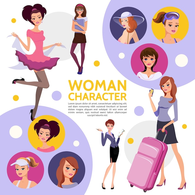 De vlakke samenstelling van vrouwentekens met elegante elegante zakenvrouw sportvrouw