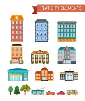 De vlakke stadselementen met woon en administratieve gebouwen winkelen en koffie vervoeren bomen geïsoleerde vectorillustratie
