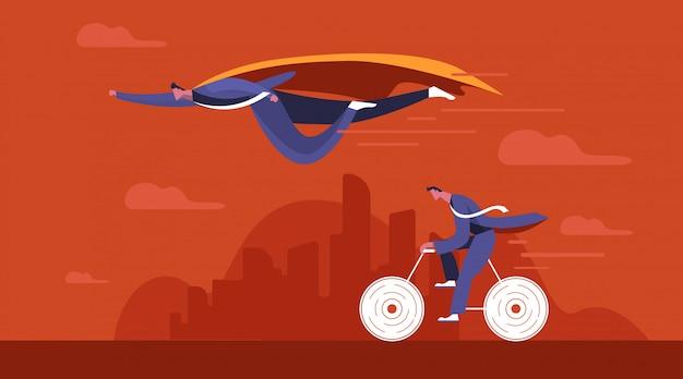 De vlieg van zakenmansuperhero gaat zijn concurrent over. concurrentie bedrijfsconcept.