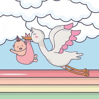 De vliegende ooievaar van de babydouche met meisjezon betrekt regenboog