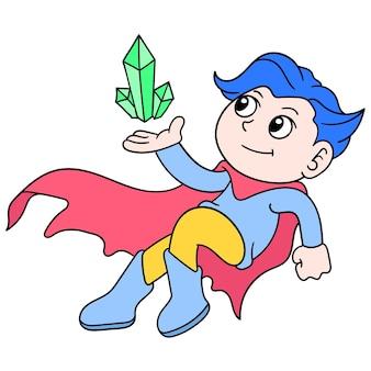 De vliegende superman draagt energieke cryptonstenen, vectorillustratieart. doodle pictogram afbeelding kawaii.