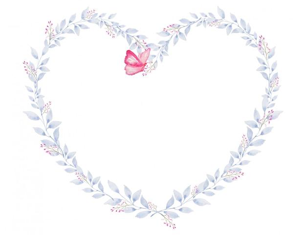 De vlinder met hartvorm verlaat vintage waterverftekening voor valentijnsdag en ander festival of activiteit van romantische liefdeviering
