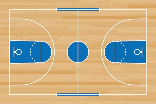 De vloer van het basketbalhof met lijn op houten patroonachtergrond.