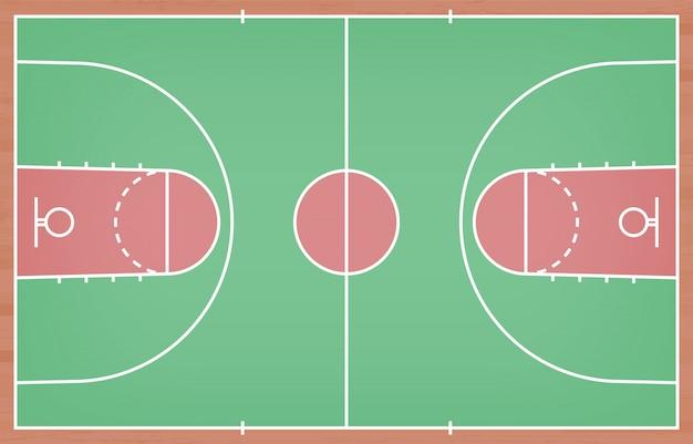 De vloer van het basketbalhof met lijn op houten textuurachtergrond