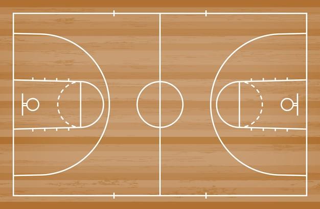 De vloer van het basketbalhof met lijnpatroon op houten achtergrond.