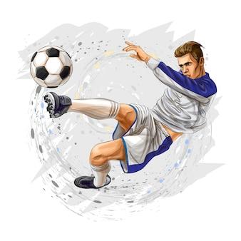 De voetballer schopt de bal op een witte achtergrond