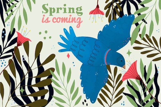 De vogel vliegende lente komt eraan