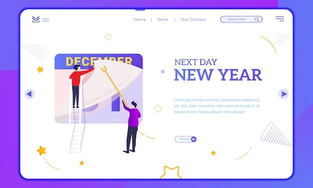 De volgende dag is het nieuwe jaar, illustratie van het wijzigen van de datum op de bestemmingspagina