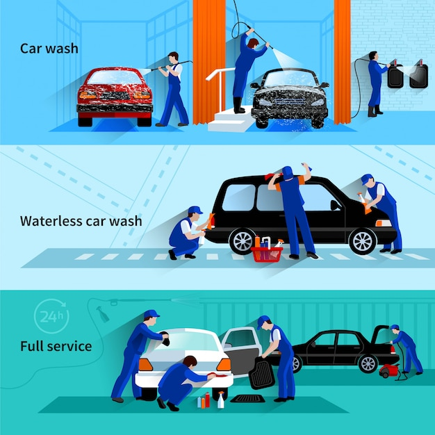 De volledige onderhoudsautowasserette met bediendensteam die voertuig 3 vlakke geïsoleerde banners abstracte vector schoonmaken