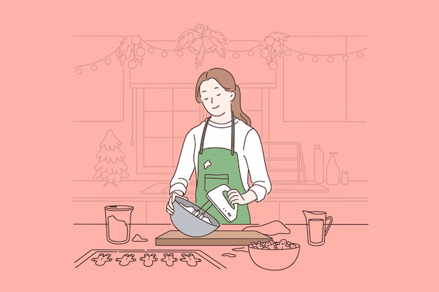 De voorbereiding van de kerstmisviering, het wachten de wintervakantie en het concept van de nieuwjaarstemming