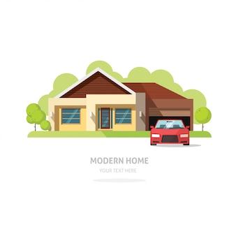 De voorgevel eigentijdse moderne vectorillustratie van het huis