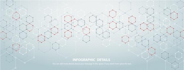 De vorm van zeshoek conceptontwerp abstracte technologieachtergrond