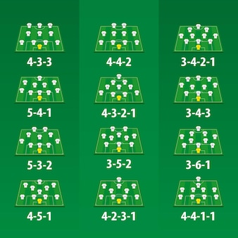 De vorming van het voetbalteam op groen voetbalgebied, 12 verschillende versies.